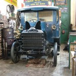 The Daimler at Beamish in familiar stance in the Edwardian Garage.  Note the new lamp and alternative front wings.