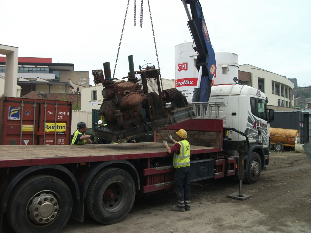 One of the smaller turbines being loaded on to the wagon