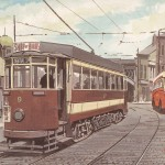 Painting of Tram 9 and Northern General SE4 by G.S.Cooper