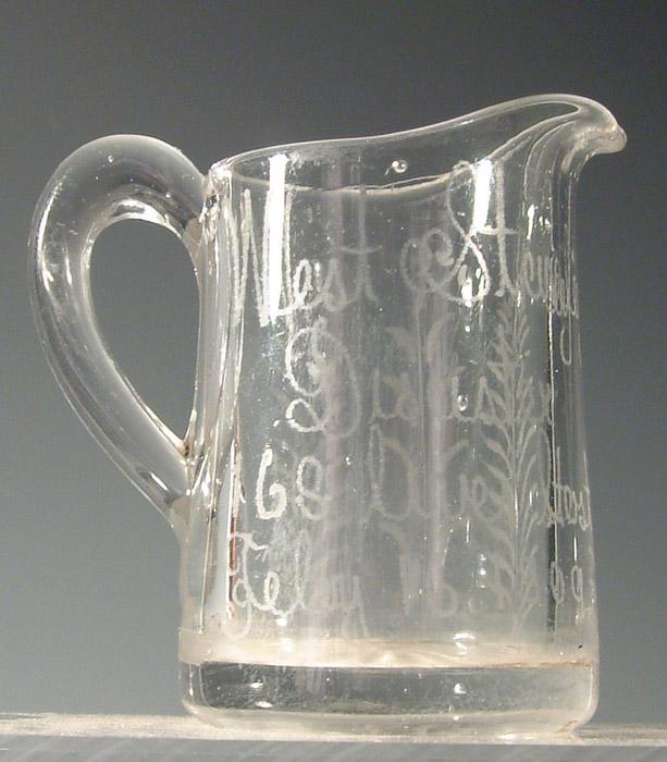 Disaster glass milk jug, inscribed West Stanley Disaster 168 lives, Feb 16 1909.