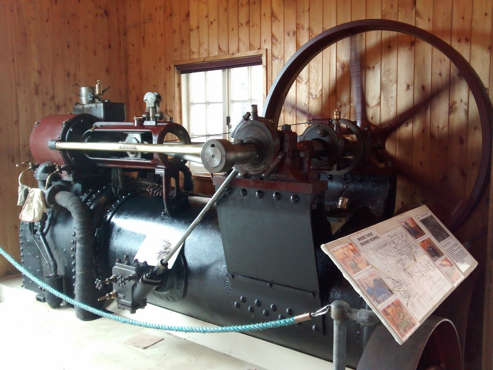 A former portable engine, which was converted to run from the site steam supply, to work in the Lime storage barn.